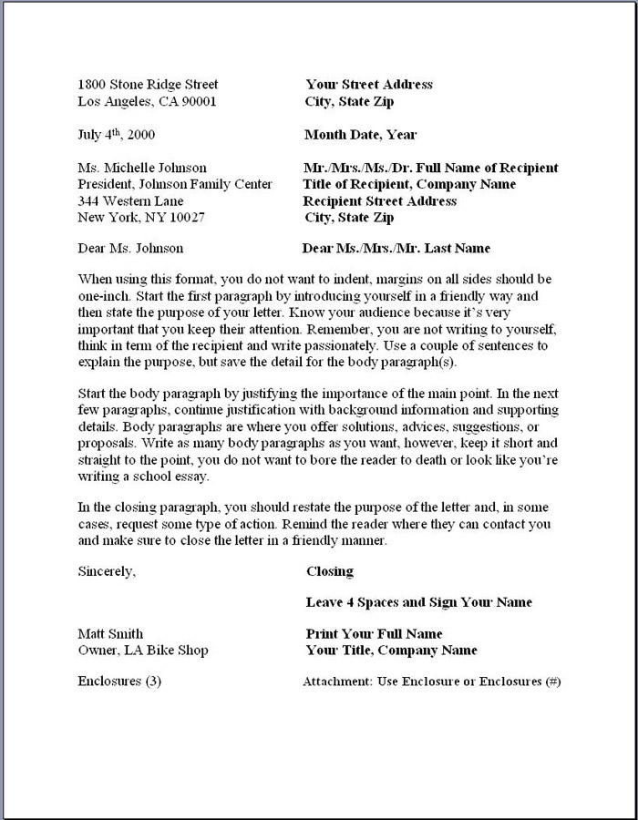 business letter format  u2013 formal writing sample  template
