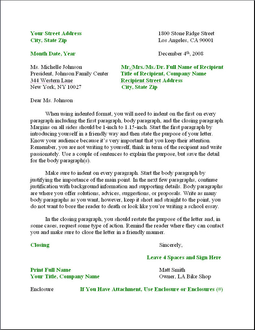 Business Letter Format Formal Writing Sample Template Layout